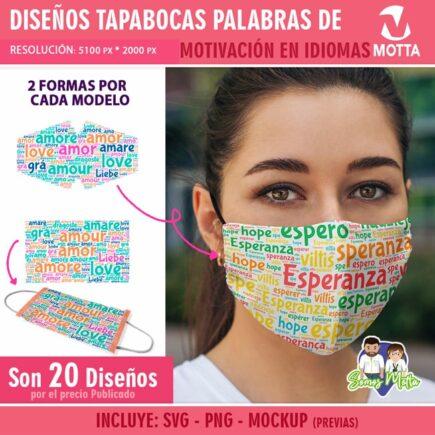 PLANTILLAS PARA TAPABOCAS PALABRAS DE MOTIVACIÓN