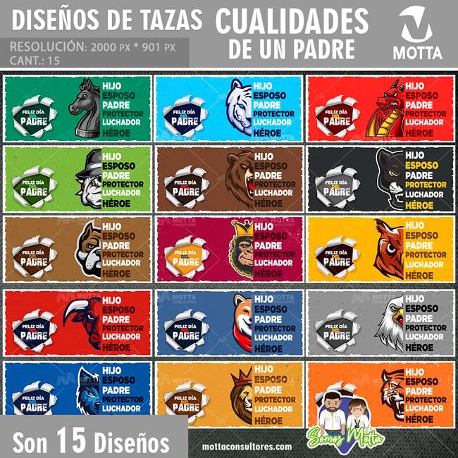 DISEÑOS PARA SUBLIMAR TAZAS DÍA DEL PADRE CUALIDADES