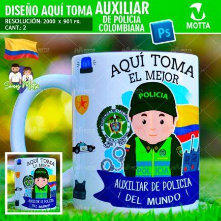 PLANTILLAS TAZAS AQUÍ TOMA AUXILIAR DE POLICÍA DE COLOMBIA