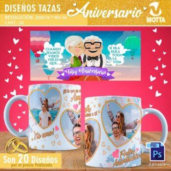 20 DISEÑOS PARA TAZAS DE ANIVERSARIO BODAS