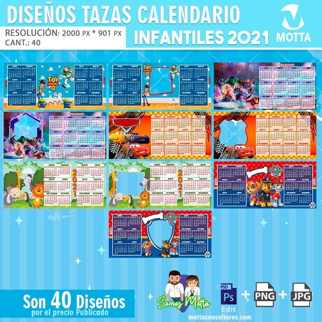 PLANTILLAS TAZAS CALENDARIOS INFANTIL 2021