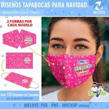 DISEÑOS TAPABOCAS DE NAVIDAD