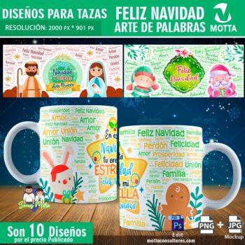 10 Lindos DISEÑOS TAZAS NAVIDAD ARTE PALABRAS