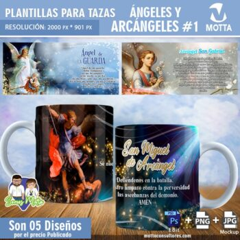 5 PLANTILLAS PARA TAZAS ANGELES Y ARCANGELES # 1