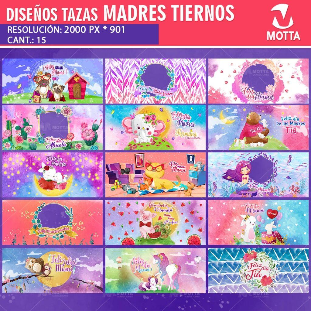 15 DISEÑOS DE TAZAS DÍA DE LA MADRE TIERNAS ACUARELAS