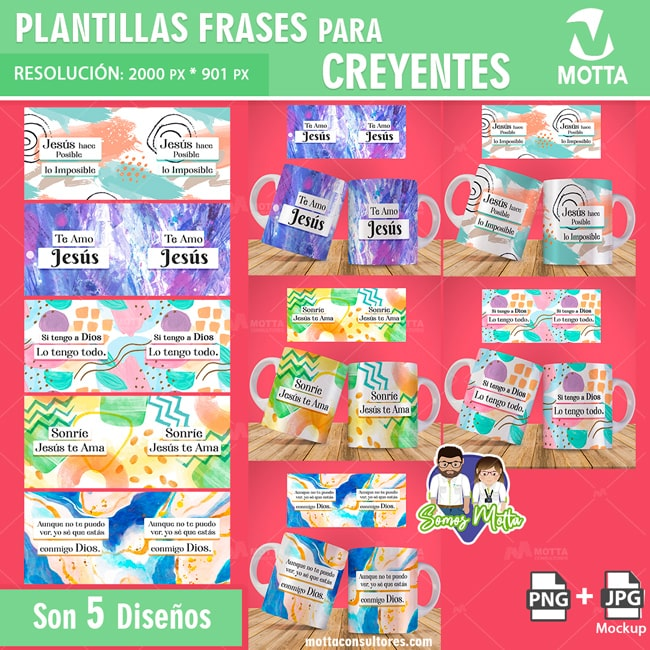 PLANTILLAS PARA SUBLIMAR GRATIS TAZAS DE CREYENTES