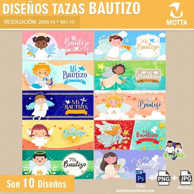10 PLANTILLAS PARA SUBLIMAR TAZAS DE BAUTIZOS
