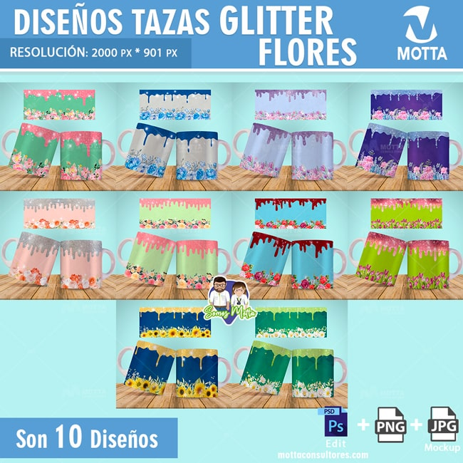 DISEÑOS PARA SUBLIMAR TAZAS GLITTER FLORAL